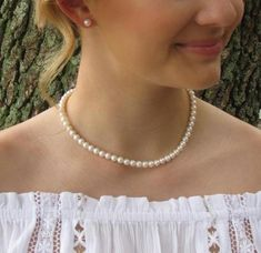 Buy Now 6mm Real Pearl Necklace & Stud Earrings Set Classic...
