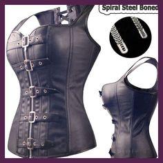Black Spiral Steel Boned Steampunk Overbust Corset Bustier Top Dress SEXY G-string Lingerie Women Corsets Plus Size S-6XL