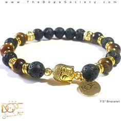 Tiger's Eye Bead Bracelet, Lava Stone Bead Bracelet, Gold Buddha Head Bracelet #Handmade#Handmade #BeadedBracelet #BeadBracelet #MensBeadBracelet #WristWear #ArtesianJewelry #MensFashion #Beaded