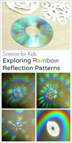 STEM / Science for Kids: Exploring Rainbow Reflections with a CD and Paper Snowflakes- fun way to explore light!