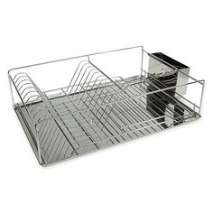 This Dish Drying Rack from Home Basics combines rustic and modern design, while providing plenty of room for all your dish drying duties. Features deep pocketed slots that provide a secure hold on dishes, along with a square cutlery holder. Silver Bedding, Kitchen Sink Organization, Cutlery Holder, Dish Racks, Modern Design, Dishes, Home Decor, Larger, Deep