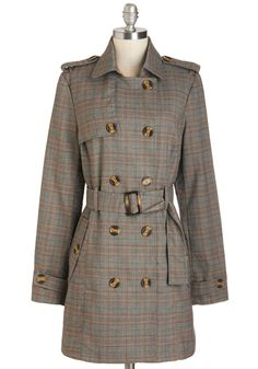 Tailored to Your Tastes Coat. Featuring a classic silhouette and an eye-catching print, this plaid trench is just your look! #multi #modcloth