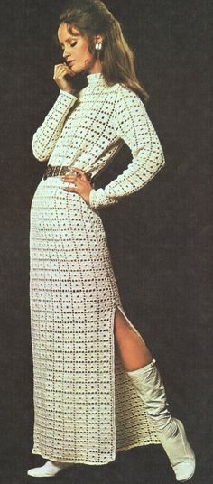CROCHET PATTERN for a Side Split Maxi Tunic Dress  Move over Mrs Peel! This must be one of the most stylish crochet patterns ever designed. Wear it as a stunning evening party dress or wear over your swimsuit or bikini on the beach. A shorter version would look great over trousers.  #vintage   #crochet   #maxi   #dress