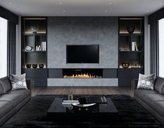 Show-stopping Modern Wall Units for your Living Room - Designer TV Wall Ideas S. - Show-stopping Modern Wall Units for your Living Room – Designer TV Wall Ideas Show-stopping Mode - Fireplace Tv Wall, Living Room With Fireplace, Fireplace Design, Living Room Modern, Home Living Room, Living Room Designs, Living Room Decor, Design Salon, Home Design