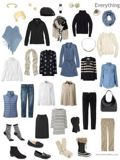 "a ""4 by 4"" Travel Capsule Wardrobe in black, khaki, denim and white, with accessories"
