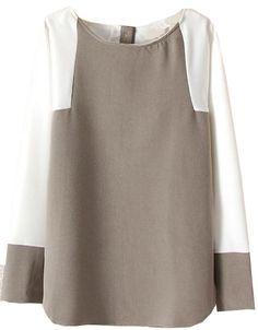 Blusa suelta botones contraste manga larga-gris 11.96