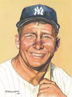 Mickey Mantle, NY Yankees, 8x10 watercolor, by John Giancaspro, 2001.