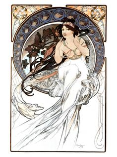 Hair reference - Music Giclee Print by Alphonse Mucha at Art.com