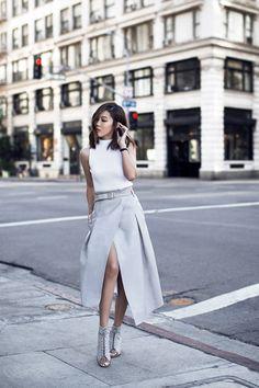 Grey Leather Wrap Skirt