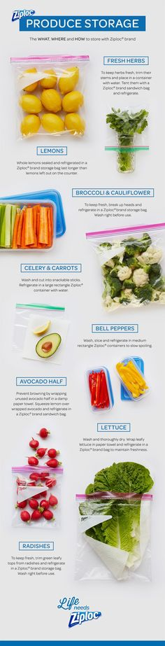 Ever wondered what produce should go in a Ziploc®️️ bag vs. a Ziploc®️️ container? Use this fun, easy infographic about how to store your veggies and fruits in the refrigerator. Great for food prep. And it's printable!