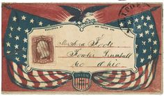 """Civil War envelope showing American flags, eagle with laurel branches, and shield bearing message """"Union and liberty""""    Addressed to Mr. Asa Foote, Fowler, Trumbull Co., Ohio; postmarked; bears 3 cent stamp. Notation on verso: Gallipolis, Ohio."""