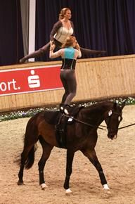 Kimberly and Cassidy Palmer performing a Pas de Deux freestyle test on Saturday at CHIO Aachen (www.barny-th. American Juniors, Vaulting, Equestrian, Animals, Places, Animales, Animaux, Horseback Riding, Animal