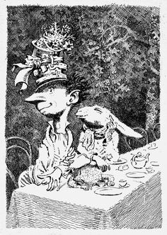 Mervyn Peak illustrated his own version of the Mad Hatter's Tea Party?!?