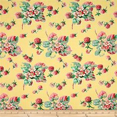 """Verna Mosquera Fruta y Flor Wild Raspberries Lemon from @fabricdotcom  Designed by Verna Mosquera for Free Spirit, this """"Fruta y Flor"""" cotton print is perfect for quilting, apparel and home decor accents. This collection is inspired by vintage botanical fruit prints and retro vibes. Colors include yellow, pink and green."""