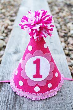 Girls 1st BIrthday Party Hat - Pink Polka Dot Birthday Hat - Flower Hat