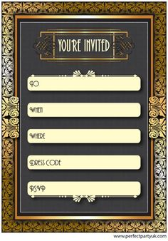 1920s Great Gatsby party invitation! Get the free printable at http://www.perfectpartyuk.com/theme-guides/1920s/free-printables/