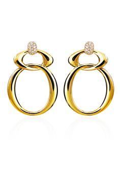 "Keep these 18K yellow gold oval and interlocking circular earrings as everyday style staples. Haute Vault's exclusive earrings feature pave diamond circular tops and will lend sparkle to your everyday outfits. Measures 1 1/2"" long 1"" wide"