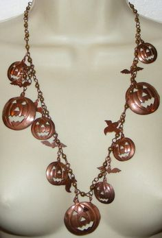 Unusual Copper Halloween NECKLACE Pumpkins Ghosts charms Costume jewelry long | eBay sold