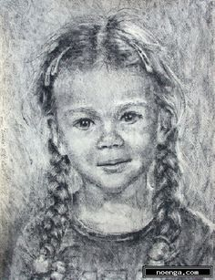 noenga.com :(c)  () :: Lonneke :: Figuratief : Impressionistisch : Tekening : Houtskool : This is a child's portrait of a young girl who's parent's gave me an assignment.