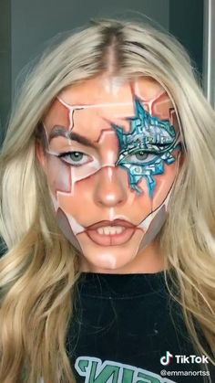 #aesthetic #vsco #tiktok #tiktokvideos #tiktokmakeup #makeup #foryoupage Robot Makeup, Anime Makeup, Sfx Makeup, Cool Makeup Looks, Cute Makeup, Human Cyborg, Futuristic Makeup, Creepy Makeup, Face Paint Makeup