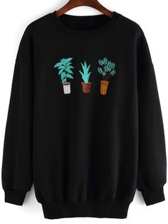 Black+Round+Neck+Cactus+Embroidered+Sweatshirt+23.00