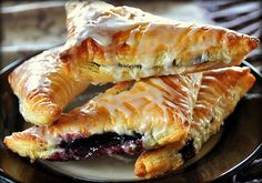 Blueberry Turnovers using STORE BOUGHT Puff Pastry.... EASY .... click to see !