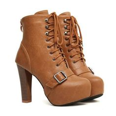 Faux Leather Buckle Strap Back Zipper Closure Booties