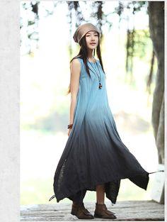 Hot sale New 2015 Vintage gradient Color Linen dress fashion designer long dress , robe femme 2015 american express clothing(China (Mainland))