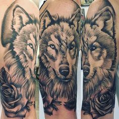 I did it!! Eventually the roses will extend down my arm ❤️ wolf tattoo half sleeve with roses