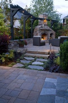 outdoor fireplace with mini trellis