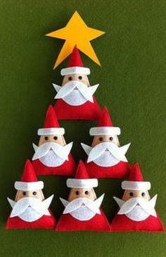 Very cute felt Santas.  These would be cute in various sizes around the house! www.therapyforyourchild.com christmas crafts