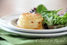 Parmesan Scalloped Potato Stacks - Baked by Rachel    : Could be an easy and different side to make once in while.  (And potatoes were buy one bag get one free so I have a lot of potatoes...)