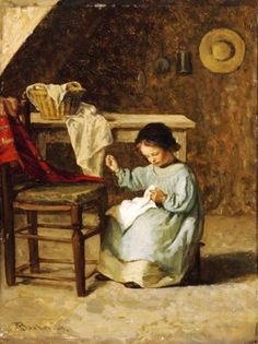 Adolf von Becker (1831-1909) Girl Sewing