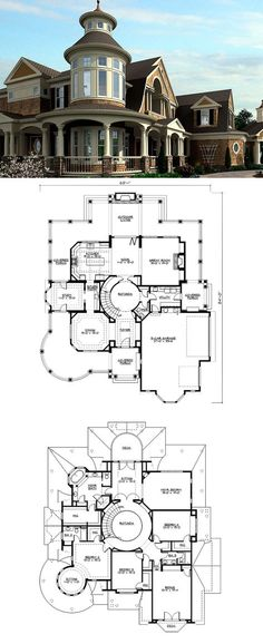 Outstanding Shingle-Style Home Plan Plan HEATED S.F This very special shingle-style ho Two Story House Plans, House Floor Plans, Mansion Floor Plans, Unique House Plans, House With Porch, House Roof, Girls Bedroom, Budget Bedroom, Genius Ideas