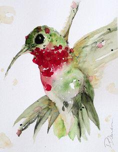 Watercolor Hummingbird Original Art by RedbirdCottageArt on Etsy, $75.00