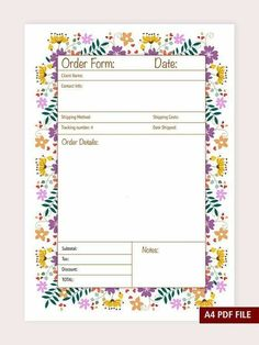 This Order Sheet Will Help You To Keep The Track Of Your Sales