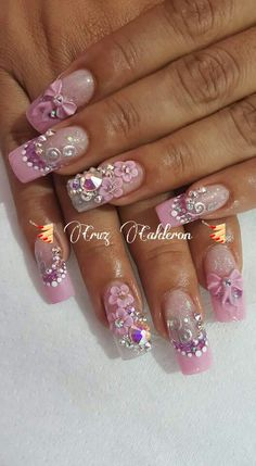 You don't need to choose the same nail art patterns over and over again. Bling Acrylic Nails, Stiletto Nail Art, Rhinestone Nails, Bling Nails, Diy Nails, Swag Nails, Fancy Nails, Cute Nails, Pretty Nails