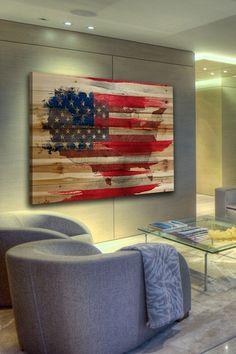 American Map Brown Distressed Wood Wall Art by Parvez Taj on @HauteLook