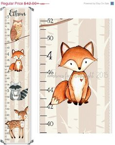 Woodland Friends Canvas Growth Chart  Forest by Farmhousefive