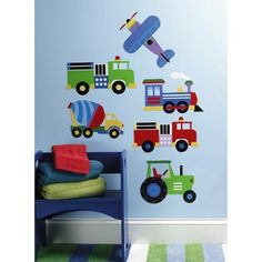 {For Henry's Room} Wallies® Peel and Stick Wall Decal - OK Trains, Planes & Trucks