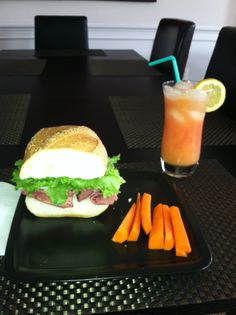 Salami, pastrami, turkey and provolone on Italian bread. Drink: Cranberry juice, orange juice and lemon soda :)