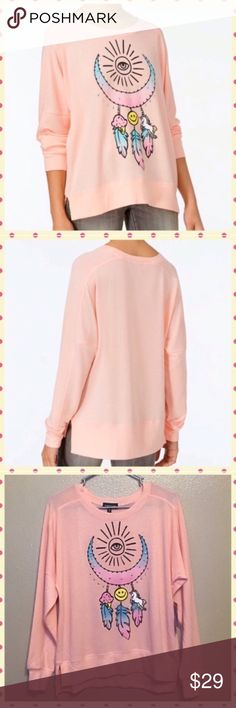 🦄 NWT Rampage Pink Graphic Oversized Top 🦄 NWT Rampage Pink Graphic Oversized Top  30% Bundle Discount 🌟 $16 = $11.20 Bundle price   Brand New with Tags  Brand: Rampage  MSRP: $34  Color: Pink (almost Coral)  Graphics:  • Eye • Dreamcatcher  • Unicorn  • Moon • Smiley Face • Ice Cream • Feathers  Material: 62% Polyester  35% Rayon 3% Spandex  Sizes: Small & Medium Fits oversized, similar to how wildfox fits  ☯  I welcome Bundles and offers  🚭 smoke & pet free home  📬 Ships typically…