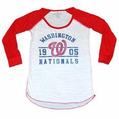681b3ddd0 Washington Nationals Women Lightweight Translucent 3 4 Sleeved Rounded  Bottom Baseball Tee