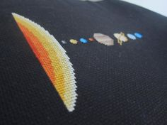 Embroidery Stitches Patterns Cross-stitch of the solar system on black aida - Looking from some eclectic embroidery patterns? We've rounded up 8 fun, science-themed patterns that are perfect for inspiring your inner nerd! Learn Embroidery, Cross Stitch Embroidery, Embroidery Patterns, Hand Embroidery, Cross Stitch Designs, Cross Stitch Patterns, Geek Cross Stitch, Embroidery Techniques, Cross Stitching