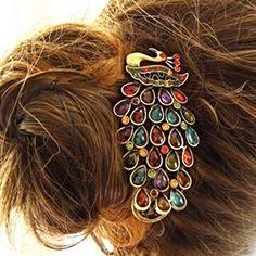 Vintage Multi-Color Crystal Rhinestones Peacock Hairpin Clip