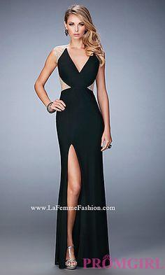 V-Neck Illusion Back Prom Dress by La Femme at PromGirl.com