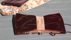 Kate Landry Clutch Velvet Maroon Burgandy by PrimaDonnaBoutique, $30.00
