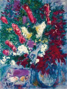 Marc Chagall (1887-1985) Vase de fleurs et personnages