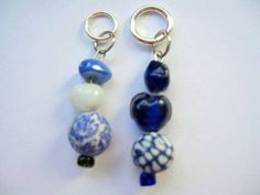 Blues 'Delft' Bead Stitch Markers by beaddifferentdesigns on Etsy