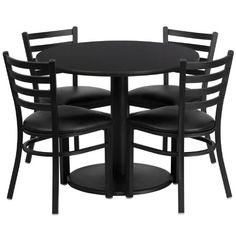 Flash Furniture Round Black Laminate Table Set with 4 Ladder Back Metal Chairs 36 -- Want to know more, click on the image.Note:It is affiliate link to Amazon.